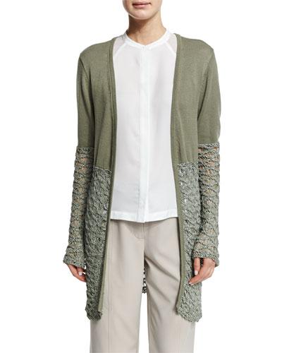 Textured-Block Duster Cardigan