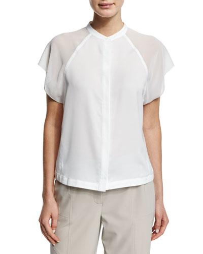 Short-Raglan-Sleeve Blouse