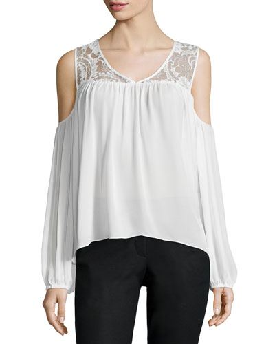 Joanie Cold-Shoulder Lace-Inset Blouse, Ivory