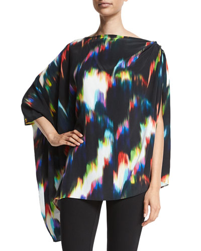 3/4-Sleeve Tie-Dye Poncho, Multi Colors