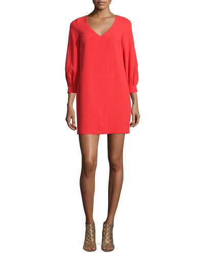 3/4-Sleeve Cocoon Shift Dress, Ruby