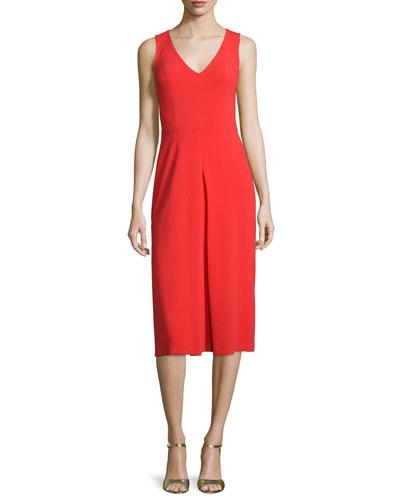 Sleeveless V-Neck Sheath Dress with Inverted Pleat