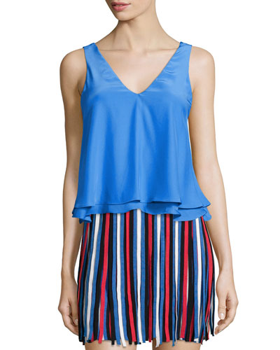 Peter Layered-Hem Sleeveless Top, Blue