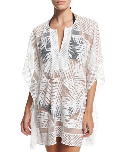 Palm Half-Sleeve Coverup, White