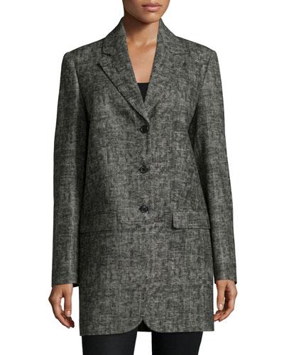 Button-Front Boyfriend Jacket, Graphite