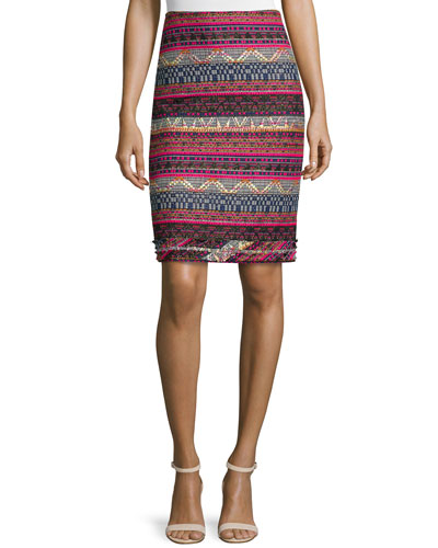 Tweed Striped Pencil Skirt