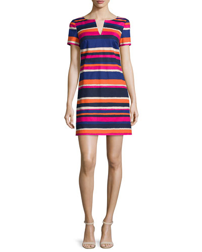 Short-Sleeve Striped Cotton-Stretch Dress