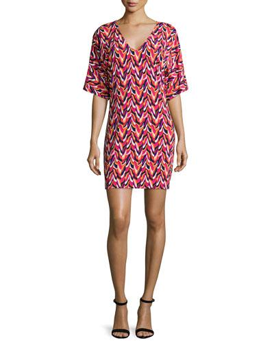 Half-Sleeve Wave-Print Dress