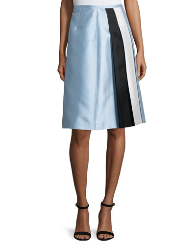 Colorblock Pleated A-Line Skirt, Ice