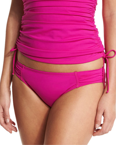 Shirred-Side Hipster Swim Bottom