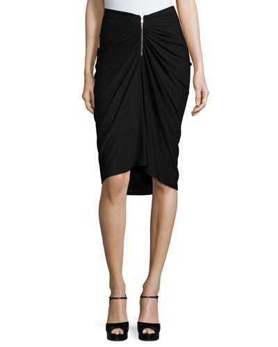Ruched-Front Pencil Skirt, Black