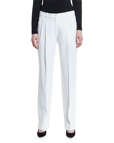 Pleated-Front Boyfriend Pants, Optic White