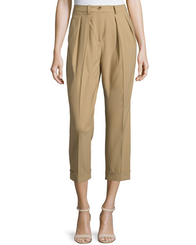 Pleated-Front Slim-Leg Cropped Pants, Fawn