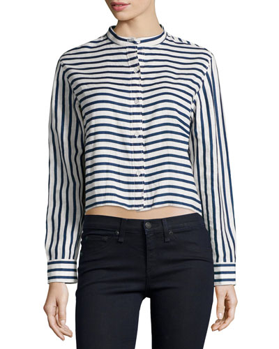 Leeds Button-Front Cropped Shirt, Stripe
