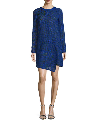 Long-Sleeve Lace Shift Dress, Imperial Blue/Noir