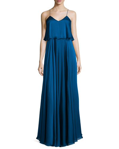 Sleeveless Iridescent Popover Gown