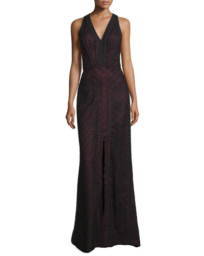 Sleeveless V-Neck Lace-Overlay Gown, Noir/Ruby