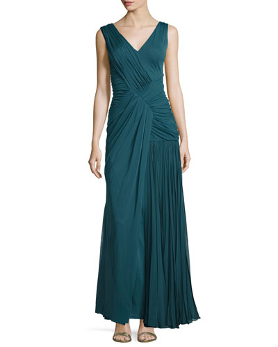 Sleeveless Plisse Draped Gown, Empress Green