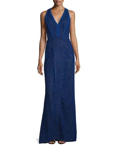 Sleeveless V-Neck Lace-Overlay Gown, Imperial Blue