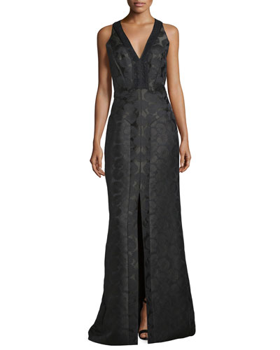 Sleeveless V-Neck Mermaid Gown, Midnight Forest