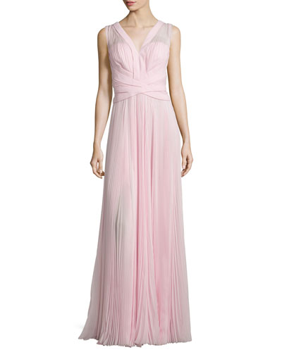 Sleeveless Crisscross-Waist Plisse Gown, Rose Fonce