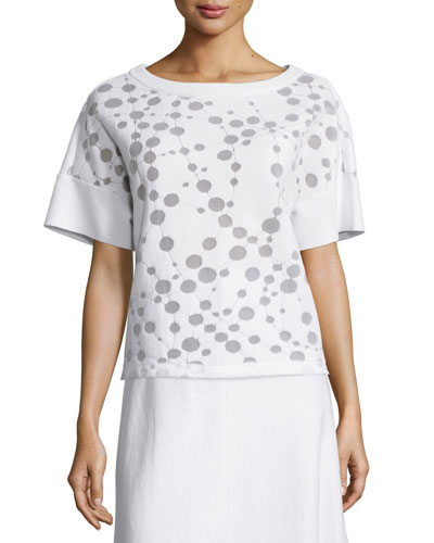 Short-Sleeve Patterned Knit Top
