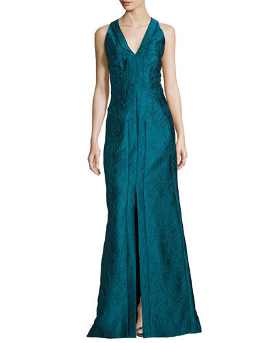 Sleeveless V-Neck Mermaid Gown, Empress Green