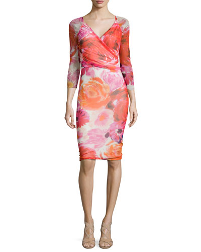 3/4-Sleeve Floral-Print Faux-Wrap Dress