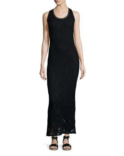 Sleeveless Crochet Maxi Dress, Black
