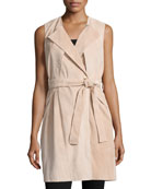 Belted Suede Trench Vest, Blush