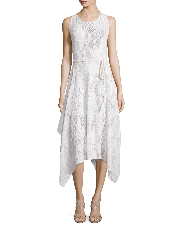 Sleeveless Crochet Hanky-Hem Dress