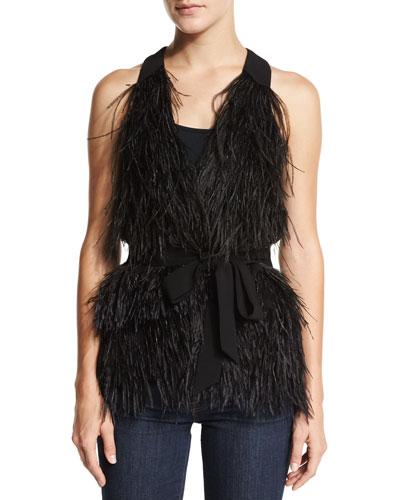 Xiomara Feathered Vest W/Belt, Black