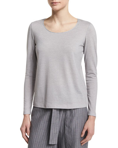 Long-Sleeve Metallic-Neck Tee