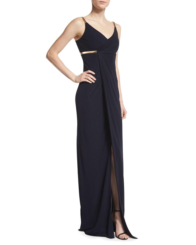 Sleeveless Faux-Wrap Column Dress