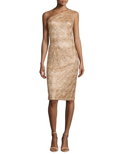 One-Shoulder Sequined Cocktail Dress, Gold