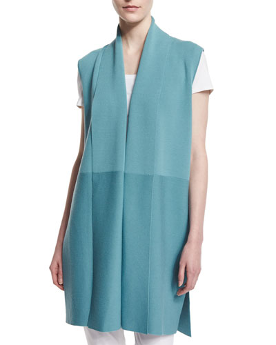 Shawl-Collar Long Vest, Blue Steel