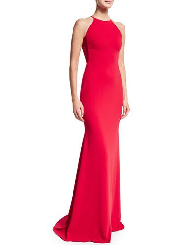 Sleeveless Jewel-Neck Gown, Cherry Red