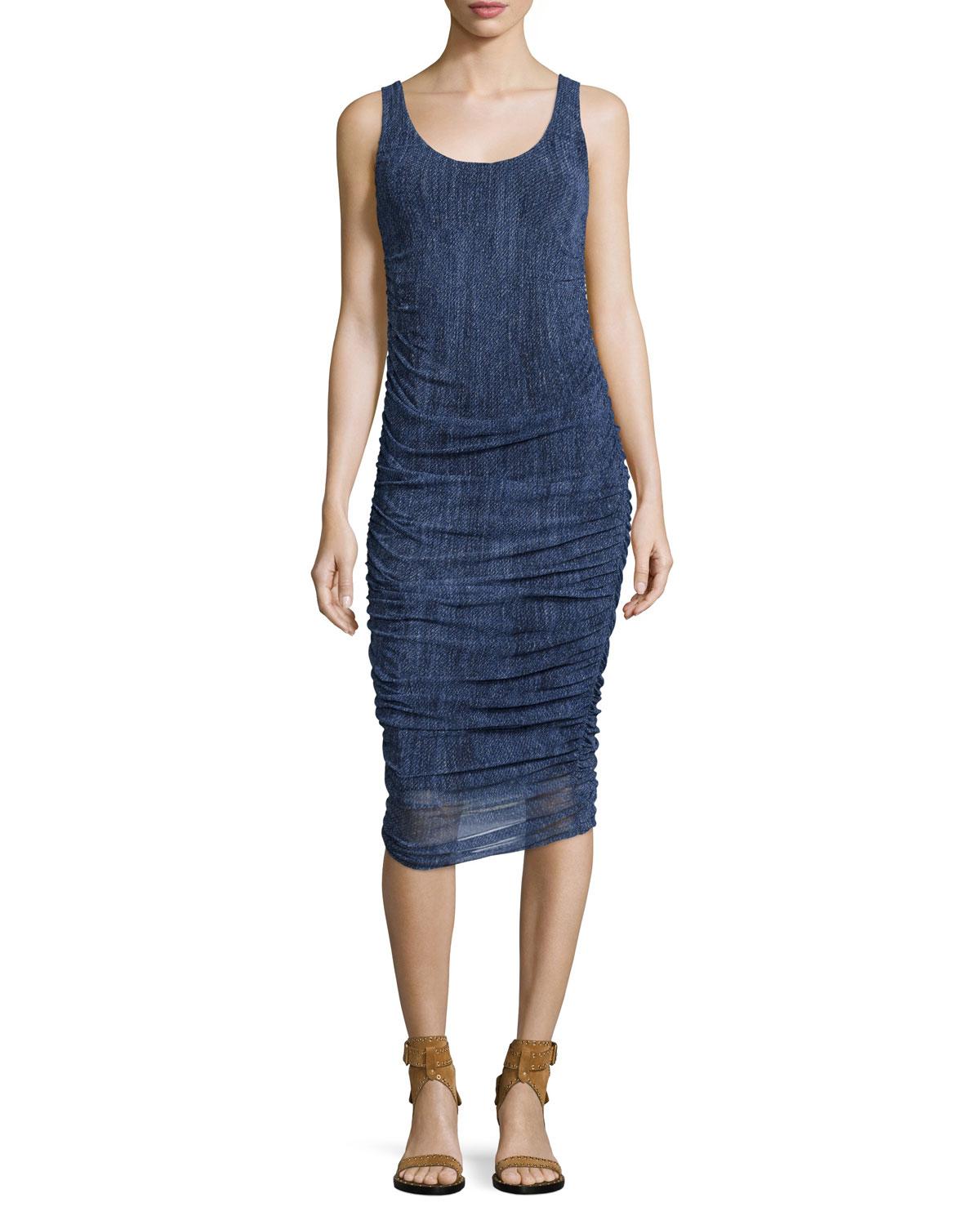 Sleeveless Ruched Knee-Length Denim Dress