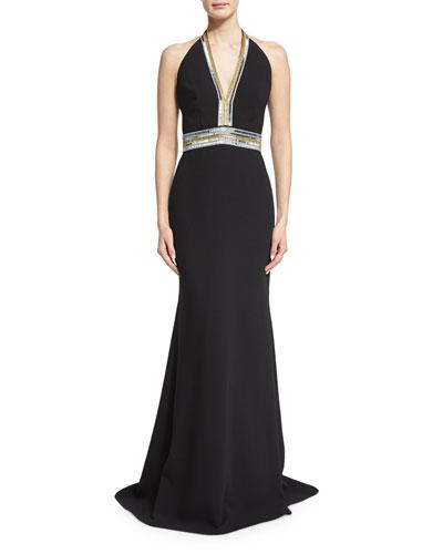 Sleeveless V-Neck Embellished Column Gown