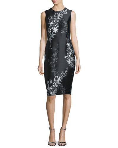 Sleeveless Jewel-Neck Floral Sheath Dress