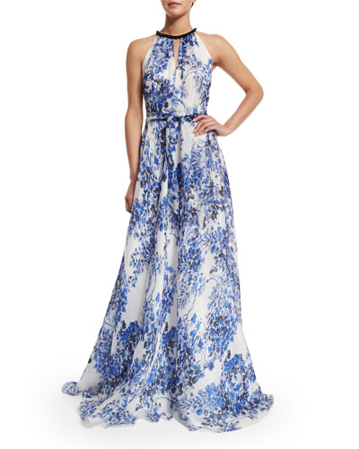 Sleeveless Halter Floral-Print Gown