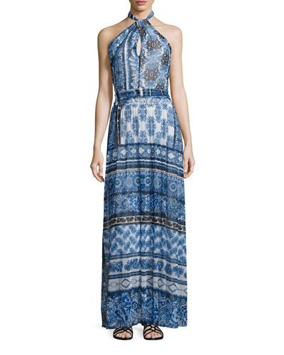 Halter Scarf-Print Maxi Dress
