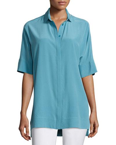 Andra Short-Sleeve Silk Blouse