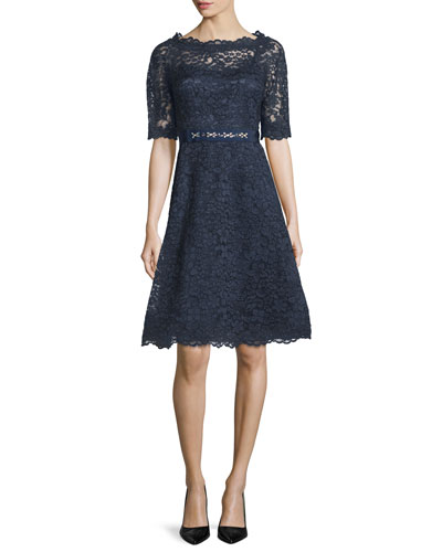 Short-Sleeve Lace A-line Cocktail Dress