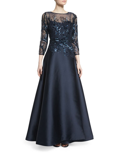 3/4-Sleeve Sequined Ball Gown