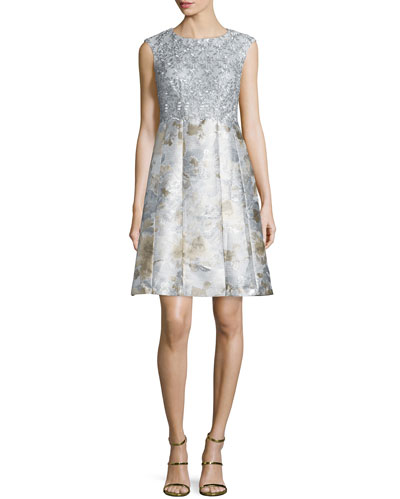 Metallic Combo Fit-&-Flare Cocktail Dress, Silver/Multi