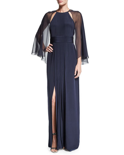 Pleated-Front Gown W/Cape, Navy