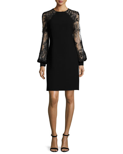 Lace Sleeve Cocktail Dress, Black