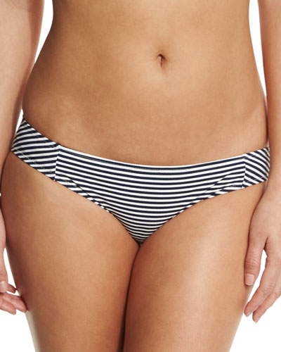 Striped Low-Rise Hipster Swim Bottom