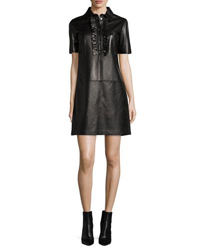 Short-Sleeve Ruffle-Front Leather Dress, Black